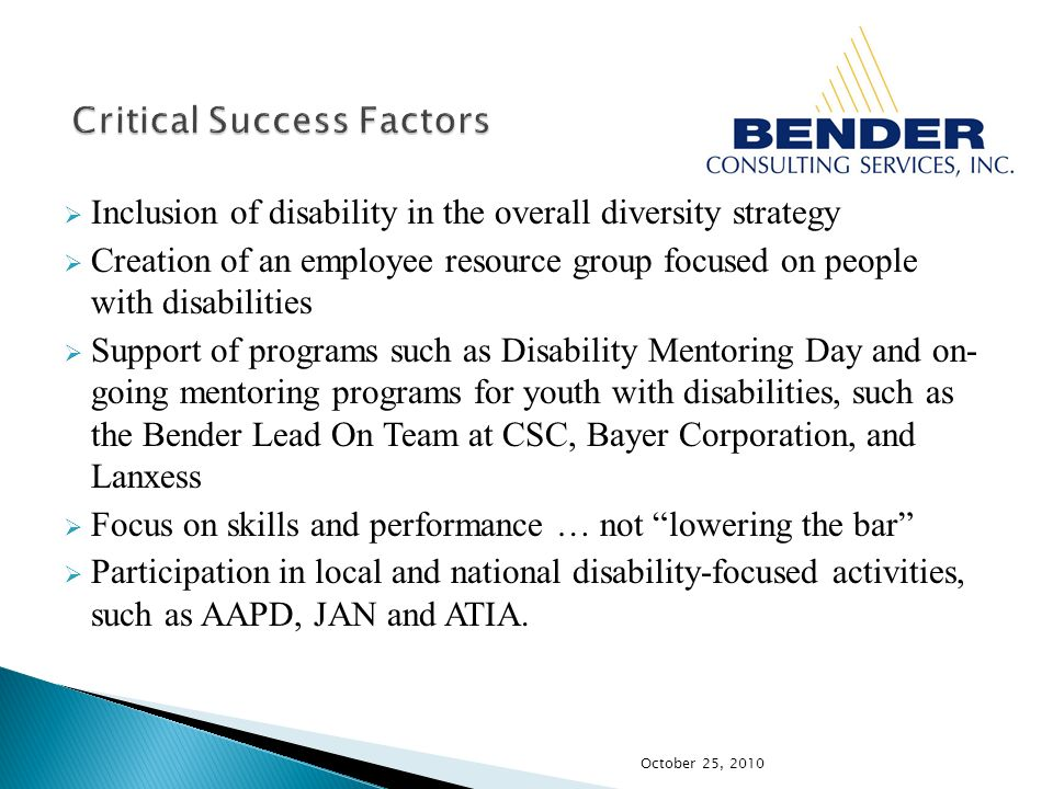 Inclusion of disability in the overall diversity strategy Creation of an employee resource group focused on people with disabilities Support of programs such as Disability Mentoring Day and on- going mentoring programs for youth with disabilities, such as the Bender Lead On Team at CSC, Bayer Corporation, and Lanxess Focus on skills and performance … not lowering the bar Participation in local and national disability-focused activities, such as AAPD, JAN and ATIA.