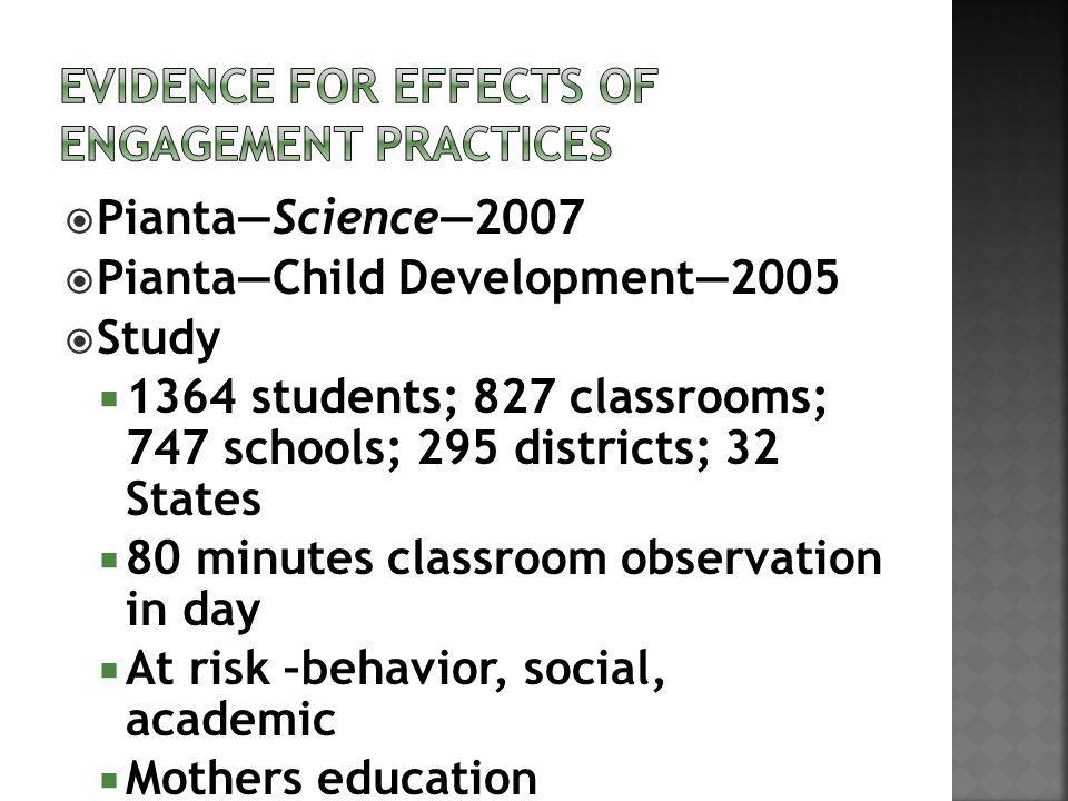 PiantaScience2007 PiantaChild Development2005 Study 1364 students; 827 classrooms; 747 schools; 295 districts; 32 States 80 minutes classroom observation in day At risk –behavior, social, academic Mothers education