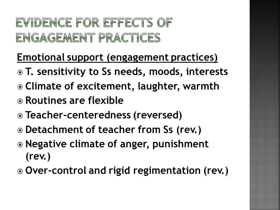 Emotional support (engagement practices) T.