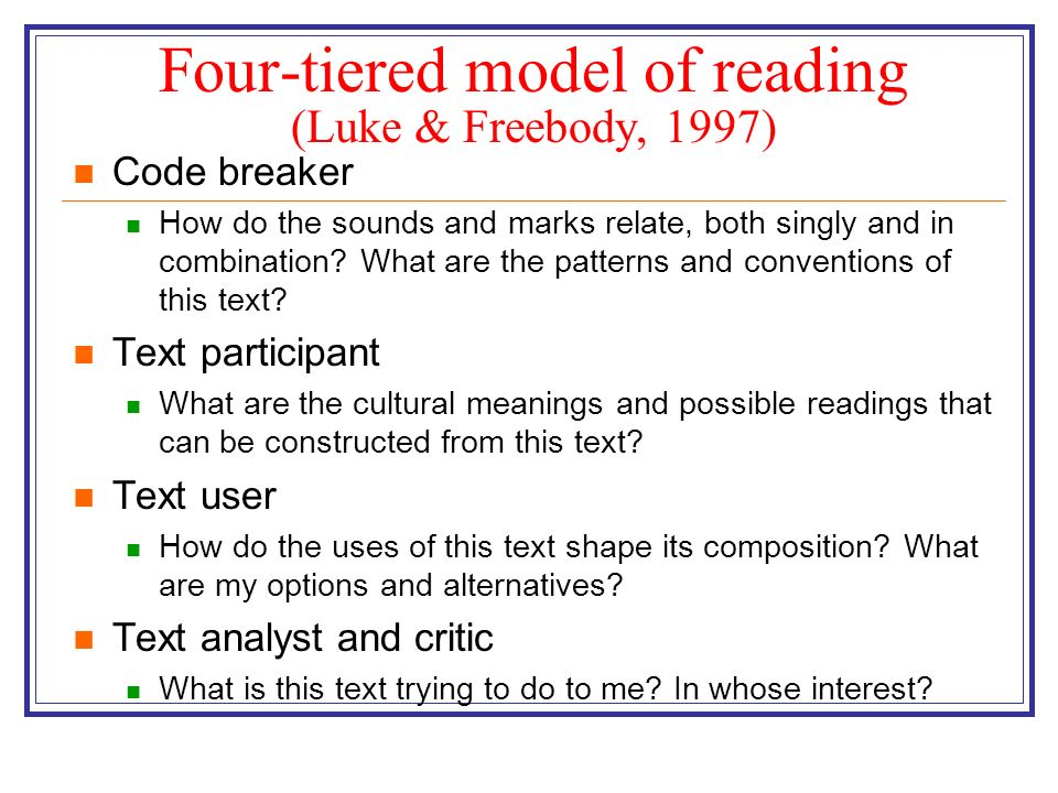 Four-tiered model of reading (Luke & Freebody, 1997) Code breaker How do the sounds and marks relate, both singly and in combination? What are the pat