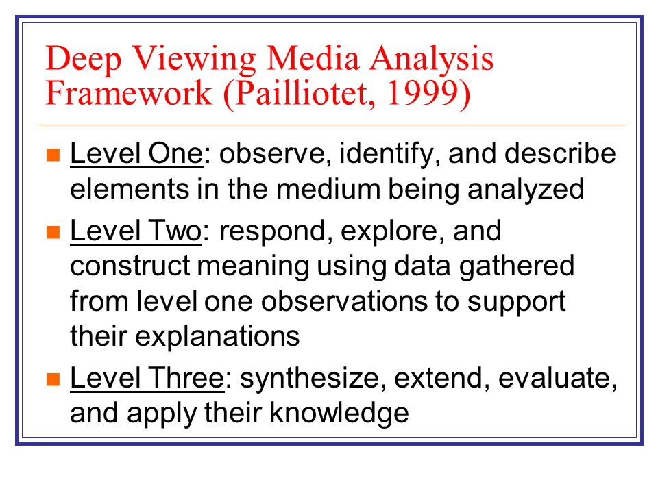 Deep Viewing Media Analysis Framework (Pailliotet, 1999) Level One: observe, identify, and describe elements in the medium being analyzed Level Two: r