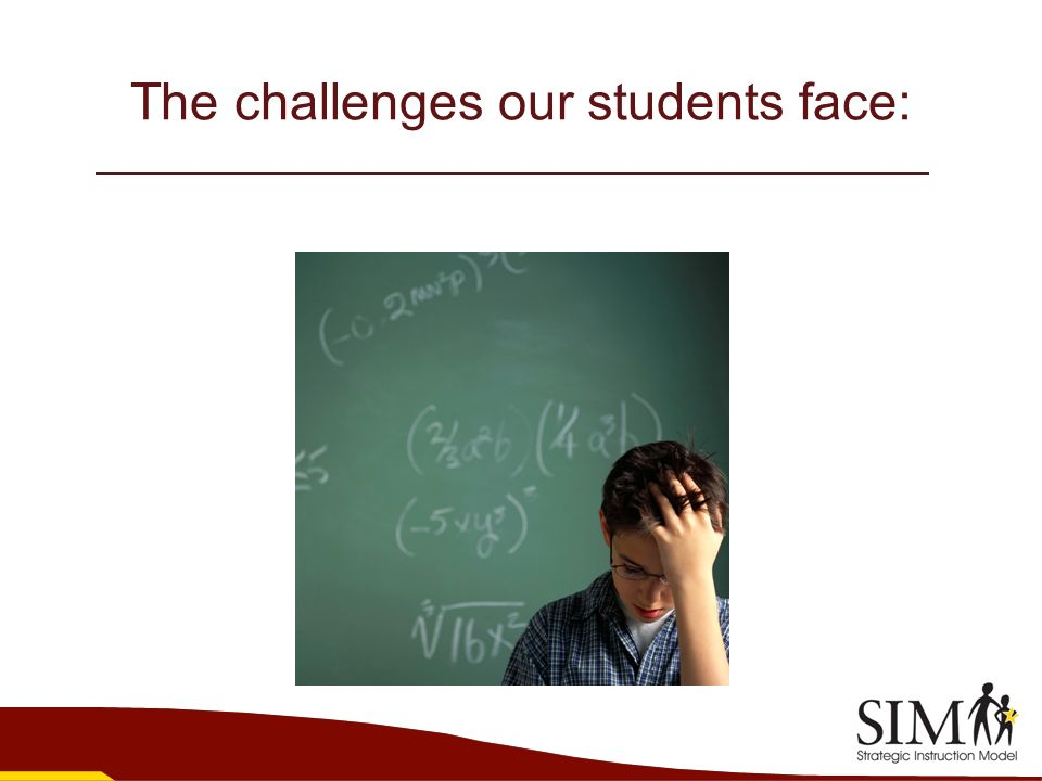 The challenges our students face: