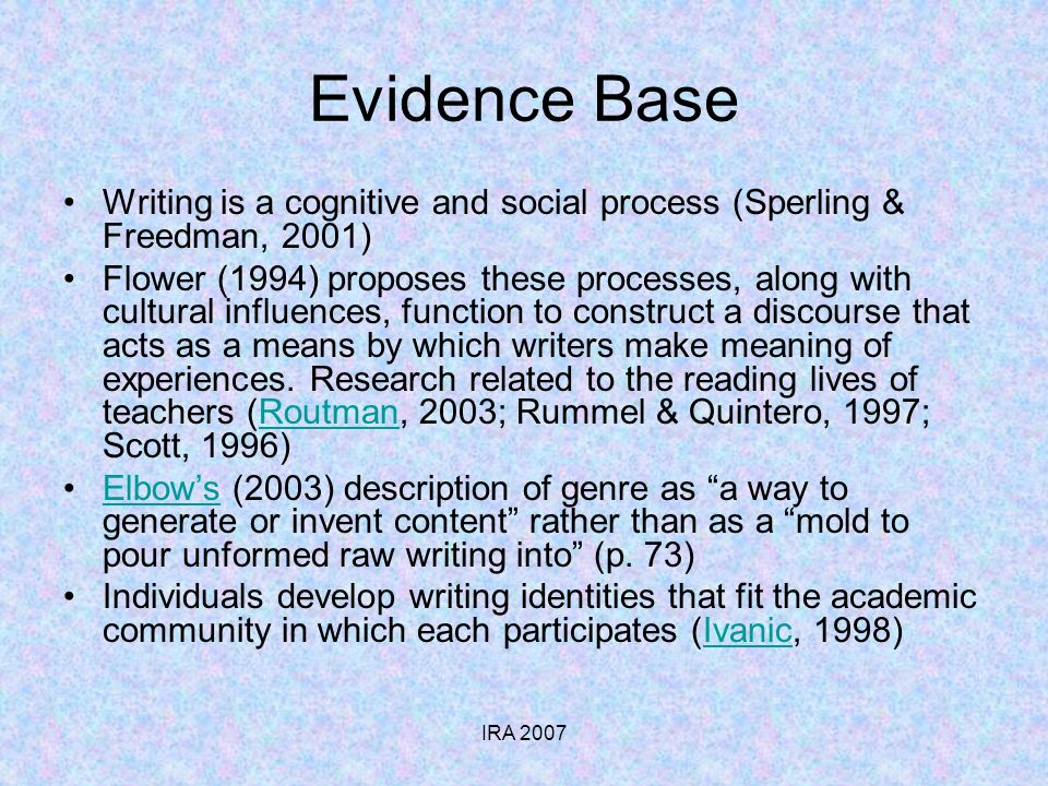 IRA 2007 Evidence Base Writing is a cognitive and social process (Sperling & Freedman, 2001) Flower (1994) proposes these processes, along with cultural influences, function to construct a discourse that acts as a means by which writers make meaning of experiences.