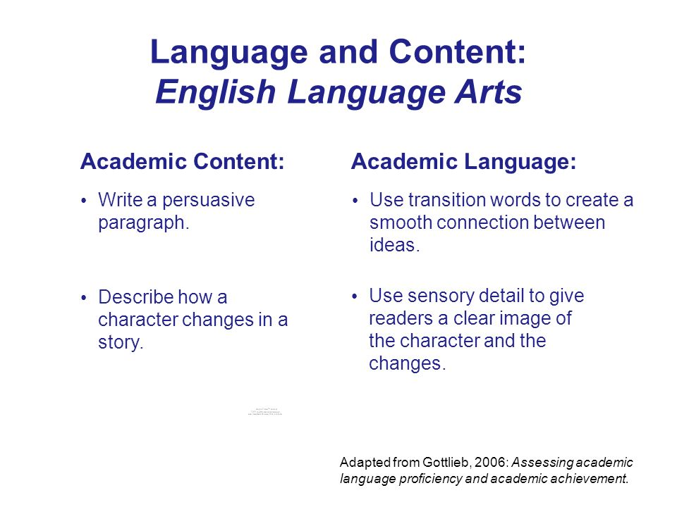 Language and Content: English Language Arts Academic Content:Academic Language: Describe how a character changes in a story. Use sensory detail to giv