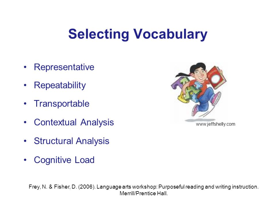 Selecting Vocabulary Representative Repeatability Transportable Contextual Analysis Structural Analysis Cognitive Load Frey, N.