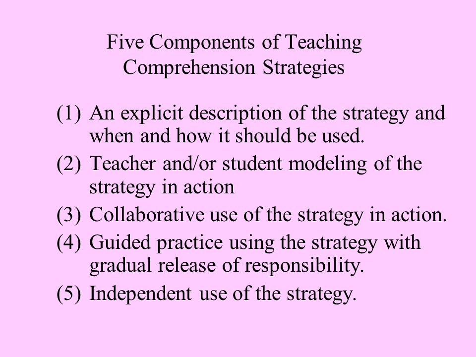 Five Components of Teaching Comprehension Strategies (1) An explicit description of the strategy and when and how it should be used.