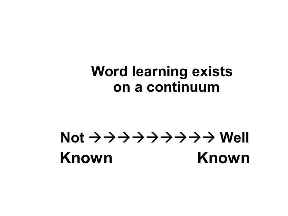 Word learning exists on a continuum Not Well Known