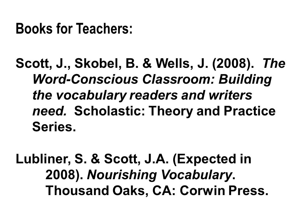 Books for Teachers: Scott, J., Skobel, B. & Wells, J.
