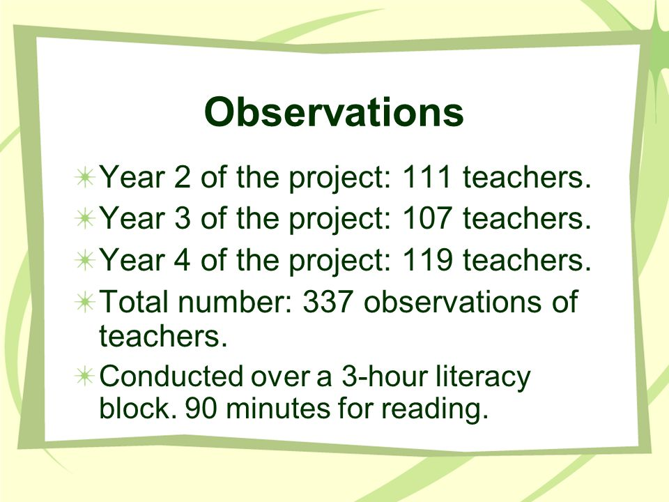 Observations Year 2 of the project: 111 teachers. Year 3 of the project: 107 teachers. Year 4 of the project: 119 teachers. Total number: 337 observat