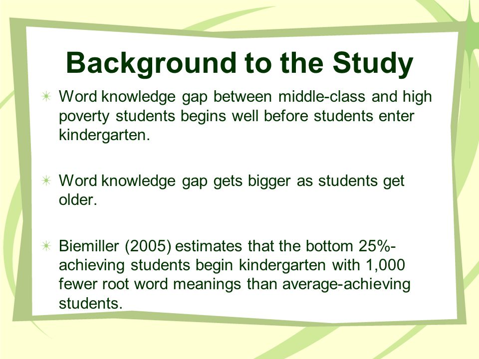 Background of the Study Research and vocabulary scholars suggest at least three components of teaching vocabulary: 1) specific word meanings 2) word-learning strategies 3) word consciousness