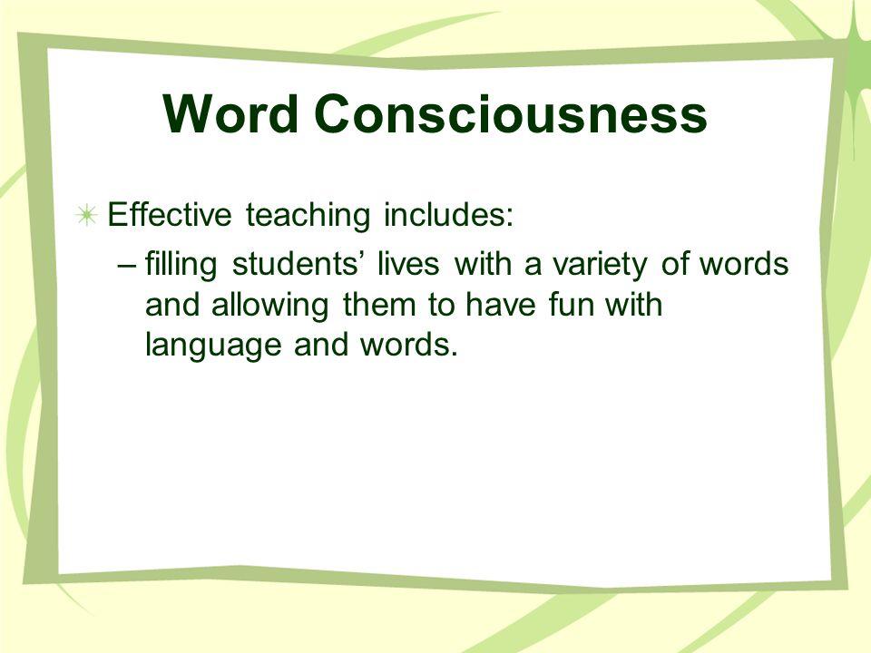 Teaching Word Consciousness Teacher hands out little books called, Dinosaur Riddles.