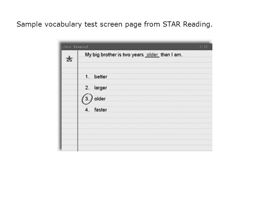 Sample vocabulary test screen page from STAR Reading.