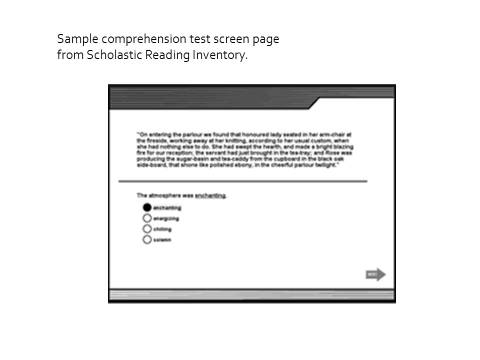 Sample comprehension test screen page from Scholastic Reading Inventory.