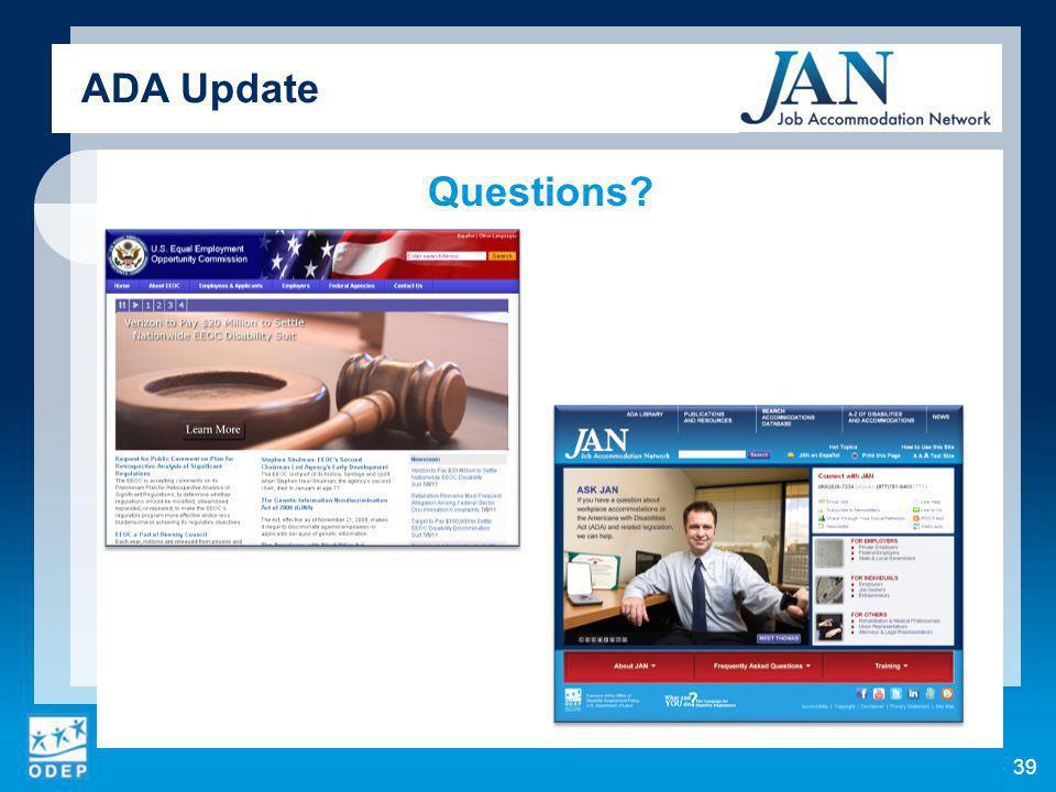 Questions ADA Update 39