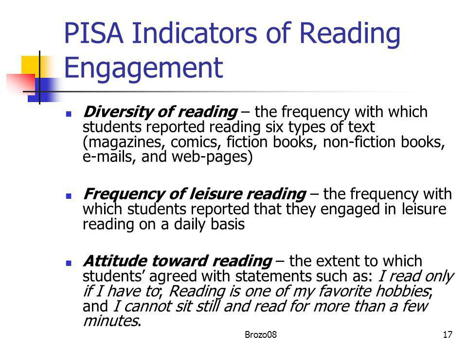 PISA Indicators of Reading Engagement Diversity of reading – the frequency with which students reported reading six types of text (magazines, comics,