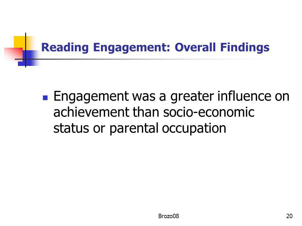 Reading Engagement: Overall Findings Engagement was a greater influence on achievement than socio-economic status or parental occupation 20Brozo08