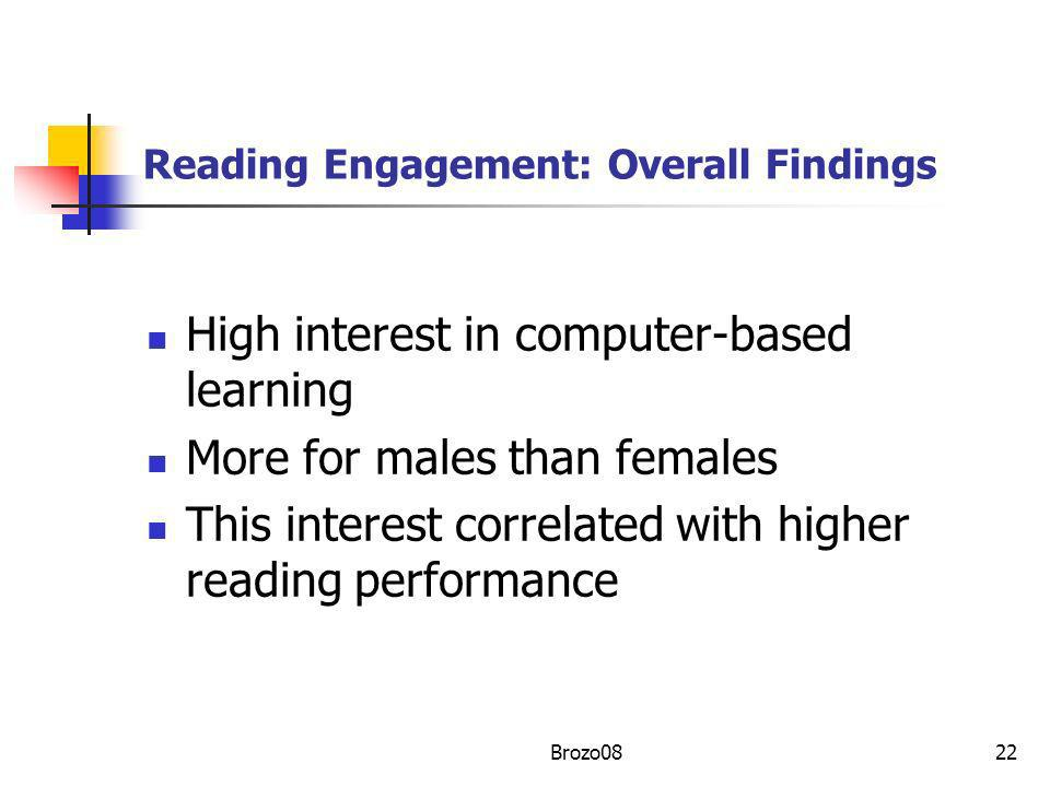 Reading Engagement: Overall Findings High interest in computer-based learning More for males than females This interest correlated with higher reading