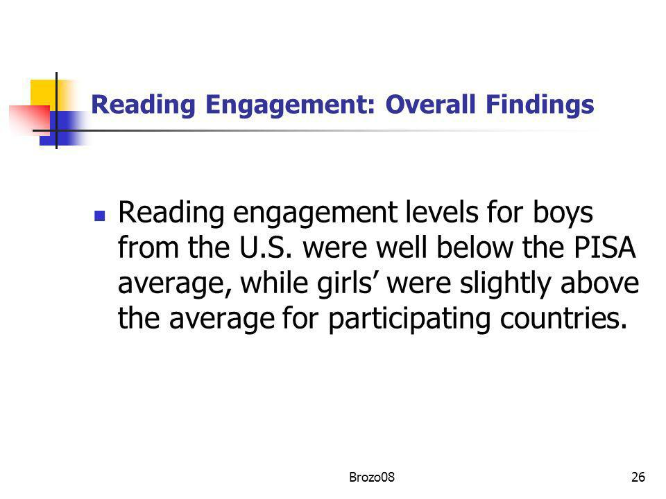 Reading Engagement: Overall Findings Reading engagement levels for boys from the U.S. were well below the PISA average, while girls were slightly abov