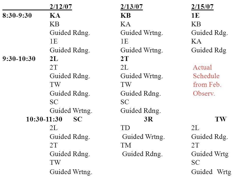 2/12/072/13/072/15/07 8:30-9:30KAKB1E KBKAKB Guided Rdng.Guided Wrtng.Guided Rdg.
