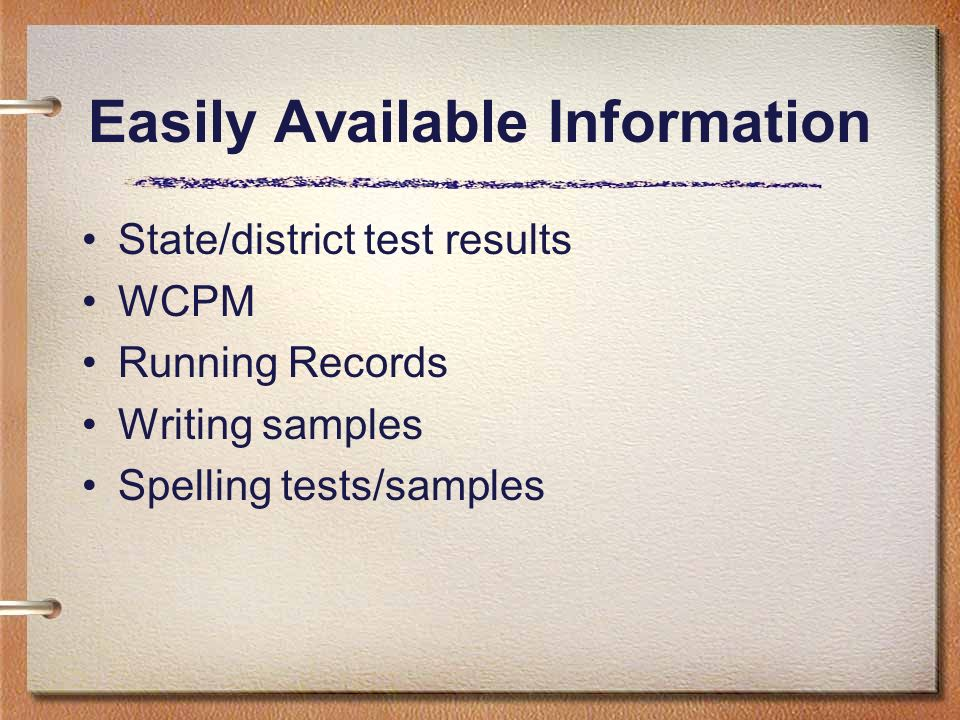Easily Available Information State/district test results WCPM Running Records Writing samples Spelling tests/samples