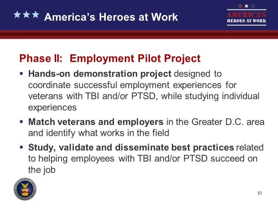 10 Phase II: Employment Pilot Project Hands-on demonstration project designed to coordinate successful employment experiences for veterans with TBI and/or PTSD, while studying individual experiences Match veterans and employers in the Greater D.C.