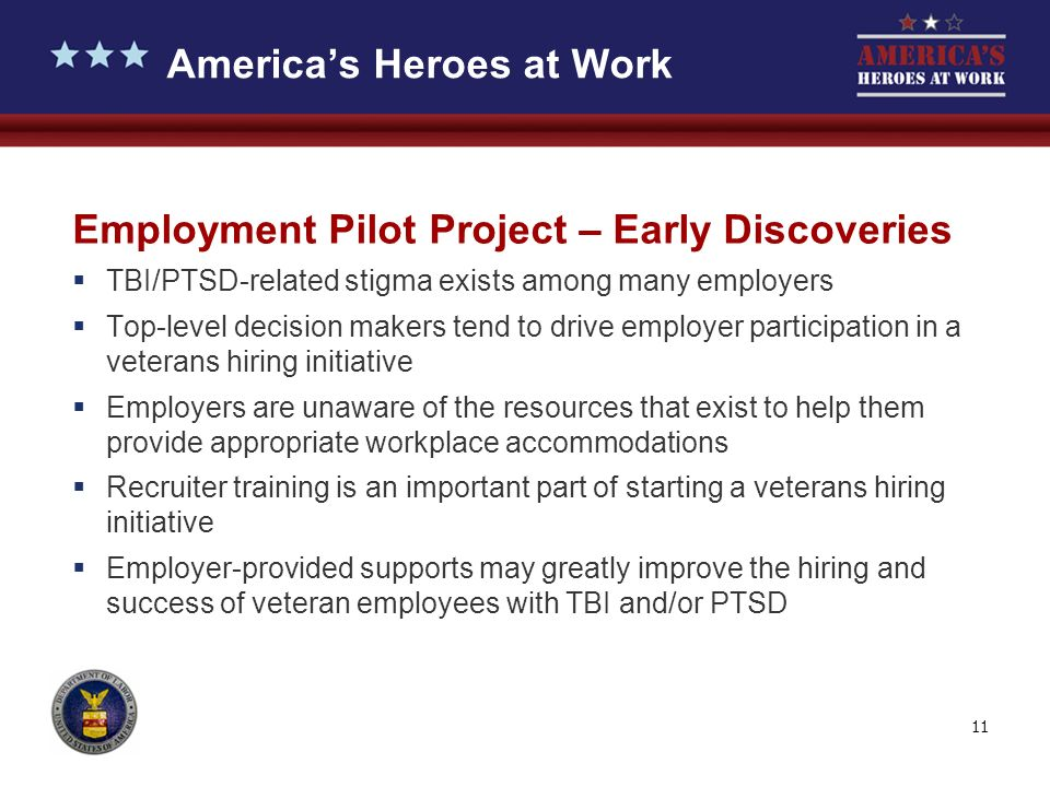11 Employment Pilot Project – Early Discoveries TBI/PTSD-related stigma exists among many employers Top-level decision makers tend to drive employer participation in a veterans hiring initiative Employers are unaware of the resources that exist to help them provide appropriate workplace accommodations Recruiter training is an important part of starting a veterans hiring initiative Employer-provided supports may greatly improve the hiring and success of veteran employees with TBI and/or PTSD Americas Heroes at Work