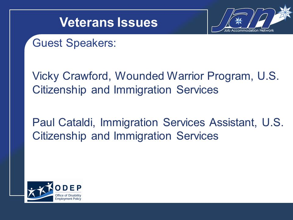 Veterans Issues Guest Speakers: Vicky Crawford, Wounded Warrior Program, U.S.