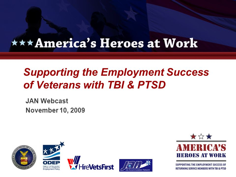 7 What employers need: To know the facts about injuries and conditions affecting veterans and returning service members Support and education concerning how to assist them in their transition to employment Employer Education