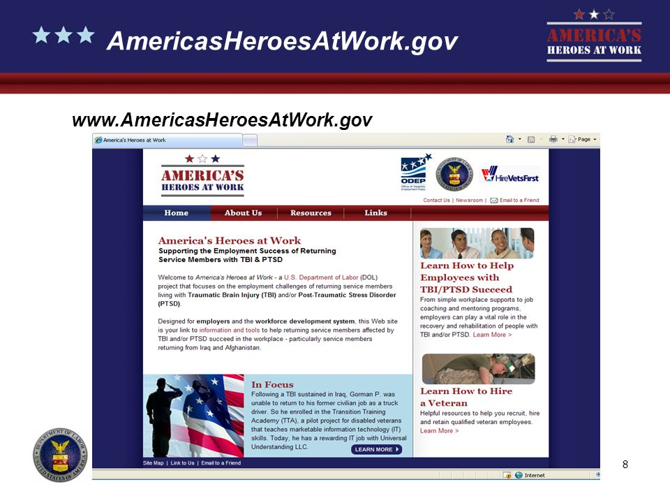 9 Phase I: Public Education Campaign Outreach designed to educate employers and workforce development professionals on ways to help veterans with TBI and/or PTSD succeed on the job Comprehensive Web site and free educational materials (www.AmericasHeroesAtWork.gov)www.AmericasHeroesAtWork.gov Toll-free personal assistance to employers on issues related to employees with disabilities: JAN: 800-526-7234 (voice) or 877-781-9403 (TTY) Americas Heroes at Work