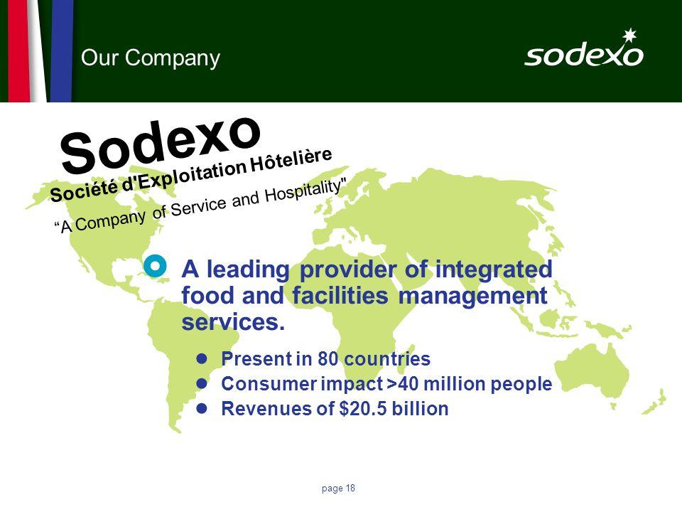page 18 Our Company Sodexo Société d'Exploitation Hôtelière A Company of Service and Hospitality