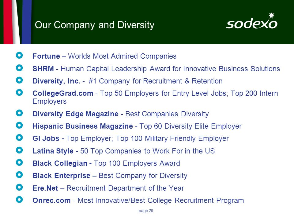 Our Company and Diversity Fortune – Worlds Most Admired Companies SHRM - Human Capital Leadership Award for Innovative Business Solutions Diversity, I