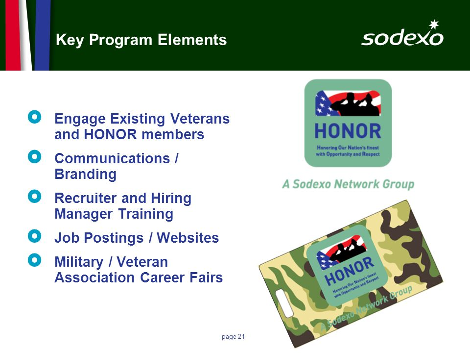 page 21 Key Program Elements Engage Existing Veterans and HONOR members Communications / Branding Recruiter and Hiring Manager Training Job Postings /