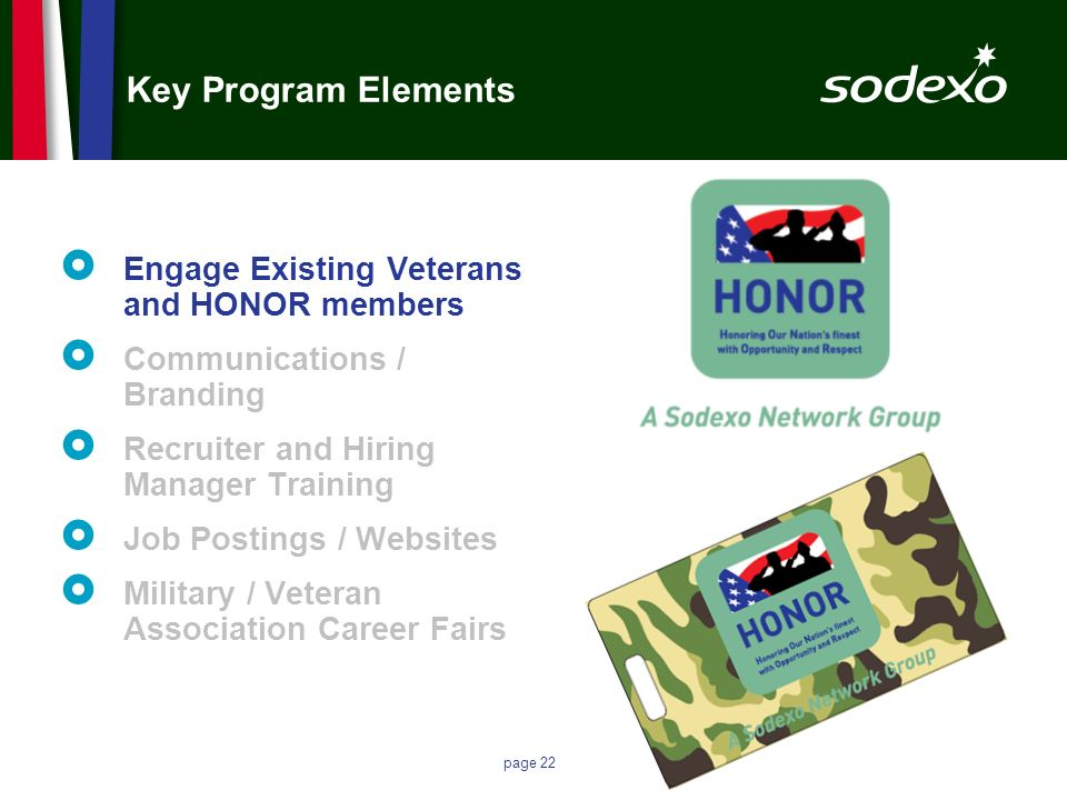page 22 Key Program Elements Engage Existing Veterans and HONOR members Communications / Branding Recruiter and Hiring Manager Training Job Postings /