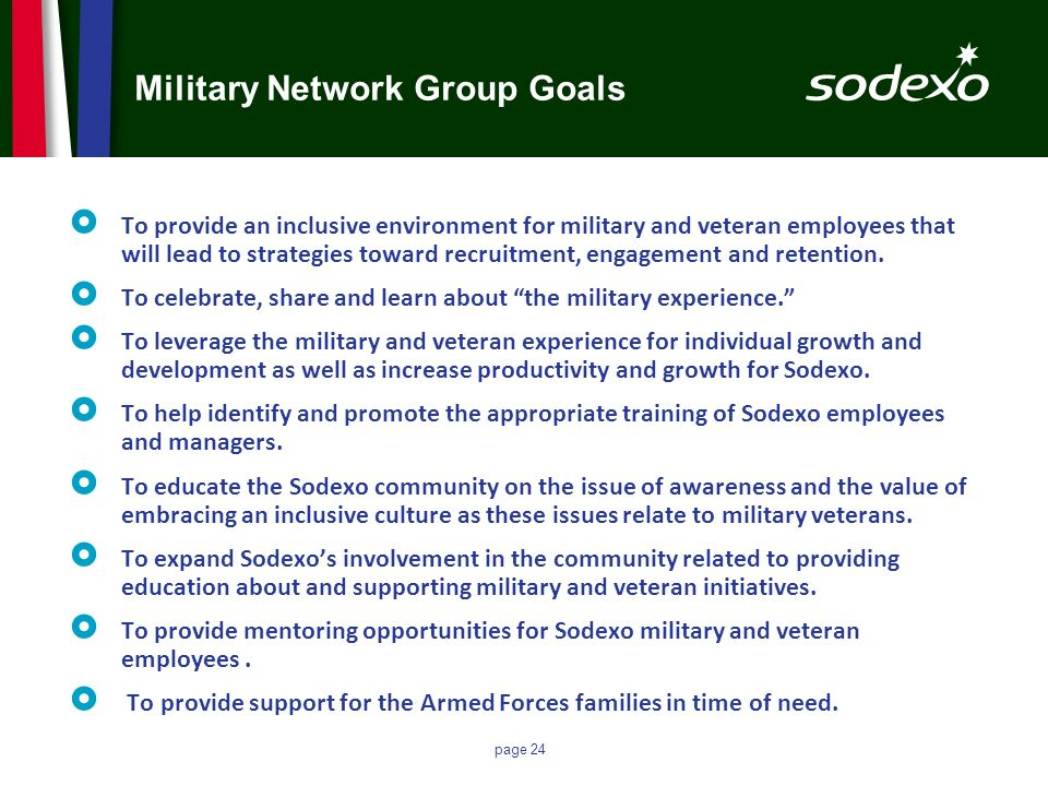 page 24 Military Network Group Goals To provide an inclusive environment for military and veteran employees that will lead to strategies toward recrui