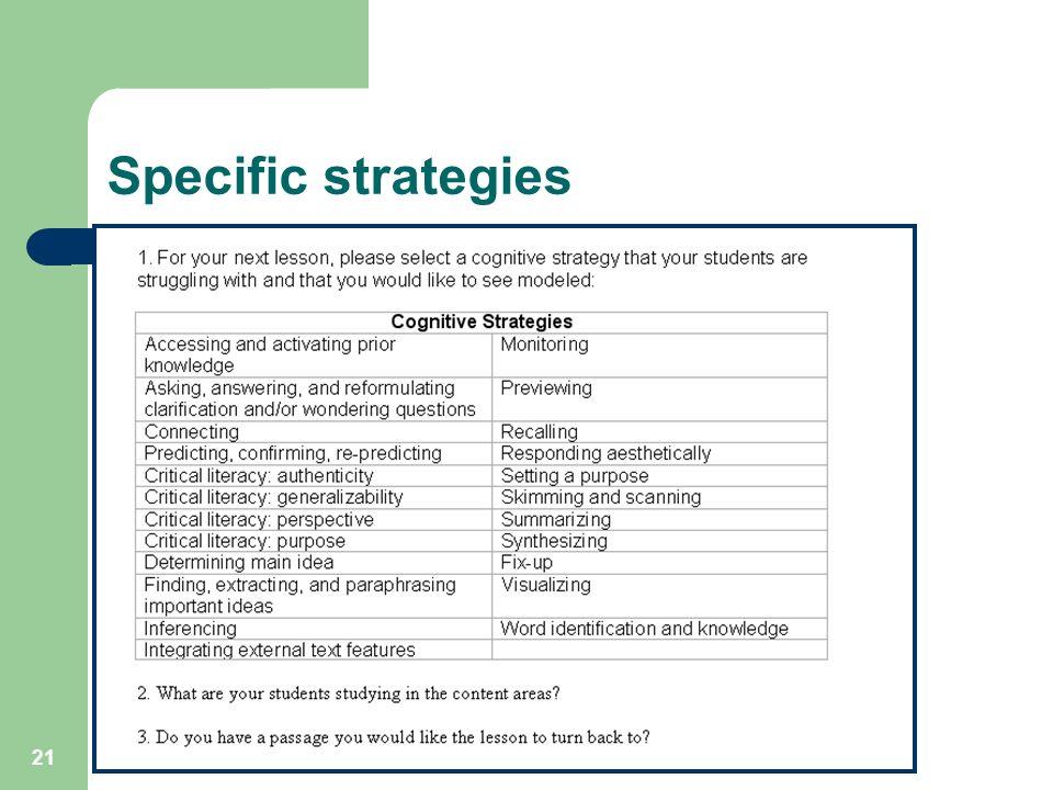 21 Specific strategies