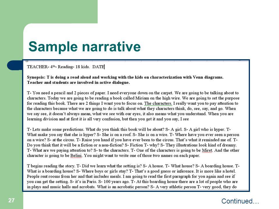 27 Sample narrative Continued…