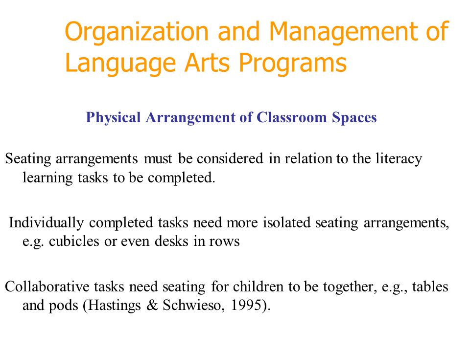 Organization and Management of Language Arts Programs Physical Arrangement of Classroom Spaces Seating arrangements must be considered in relation to