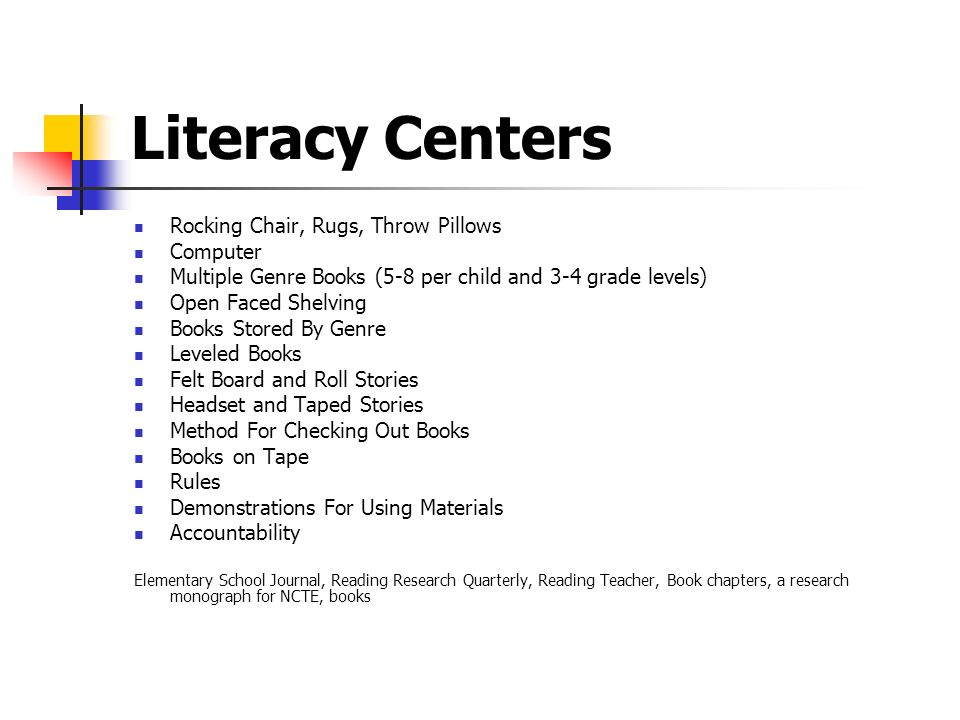 Literacy Centers Rocking Chair, Rugs, Throw Pillows Computer Multiple Genre Books (5-8 per child and 3-4 grade levels) Open Faced Shelving Books Store