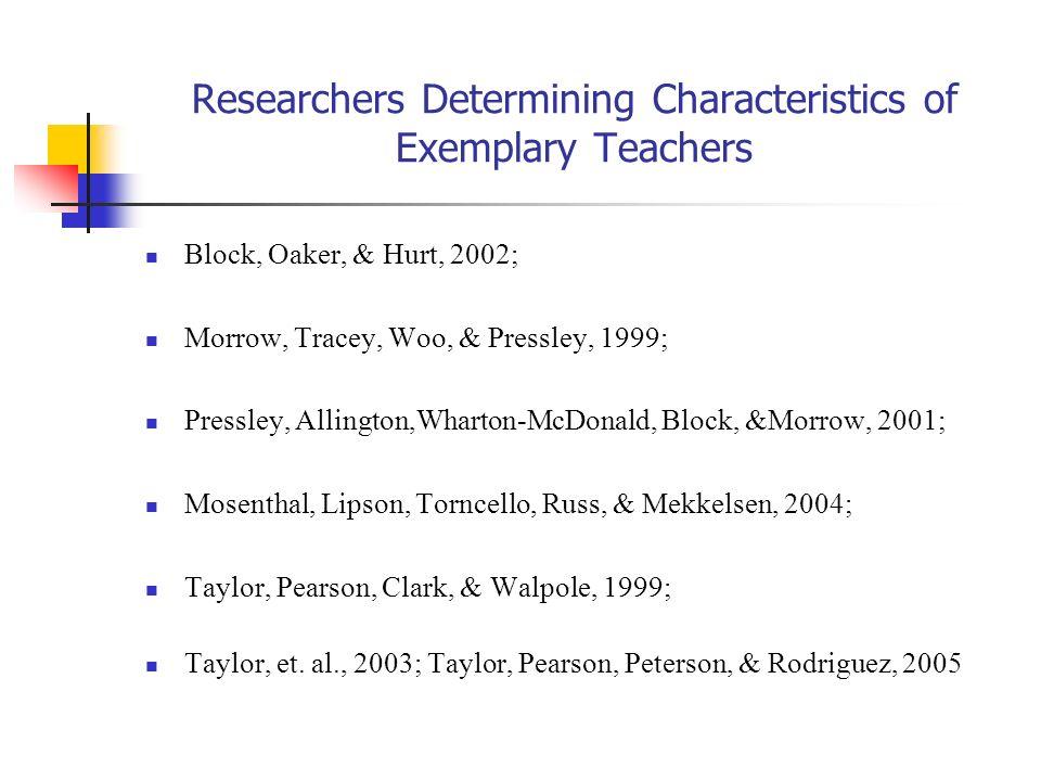 Researchers Determining Characteristics of Exemplary Teachers Block, Oaker, & Hurt, 2002; Morrow, Tracey, Woo, & Pressley, 1999; Pressley, Allington,W