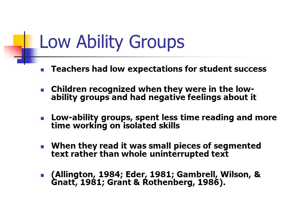 Low Ability Groups Teachers had low expectations for student success Children recognized when they were in the low- ability groups and had negative feelings about it Low-ability groups, spent less time reading and more time working on isolated skills When they read it was small pieces of segmented text rather than whole uninterrupted text (Allington, 1984; Eder, 1981; Gambrell, Wilson, & Gnatt, 1981; Grant & Rothenberg, 1986).