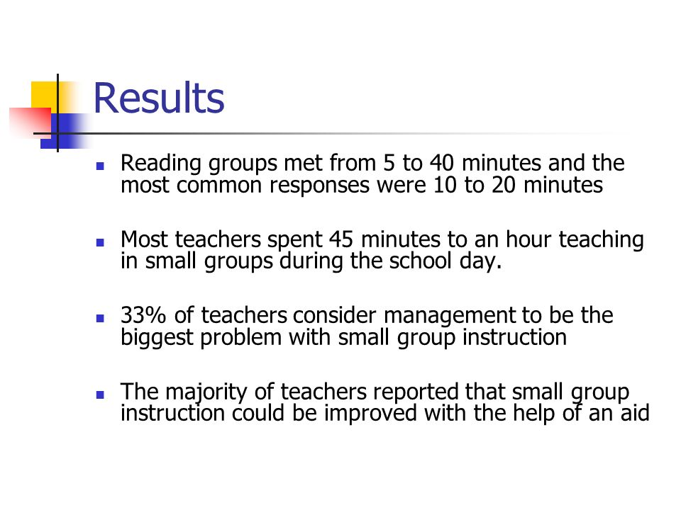 Results Reading groups met from 5 to 40 minutes and the most common responses were 10 to 20 minutes Most teachers spent 45 minutes to an hour teaching