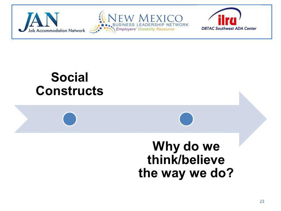 Social Constructs Why do we think/believe the way we do 23