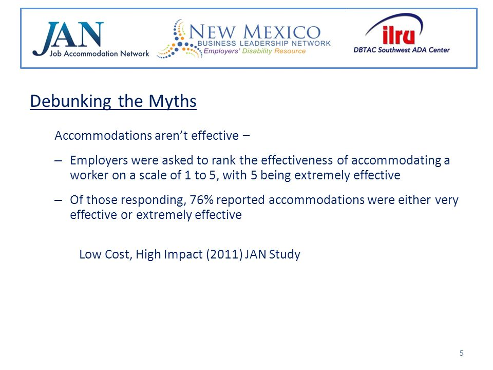 Debunking the Myths Accommodations arent effective – – Employers were asked to rank the effectiveness of accommodating a worker on a scale of 1 to 5, with 5 being extremely effective – Of those responding, 76% reported accommodations were either very effective or extremely effective Low Cost, High Impact (2011) JAN Study 5
