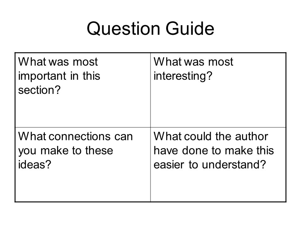 Question Guide What was most important in this section? What was most interesting? What connections can you make to these ideas? What could the author