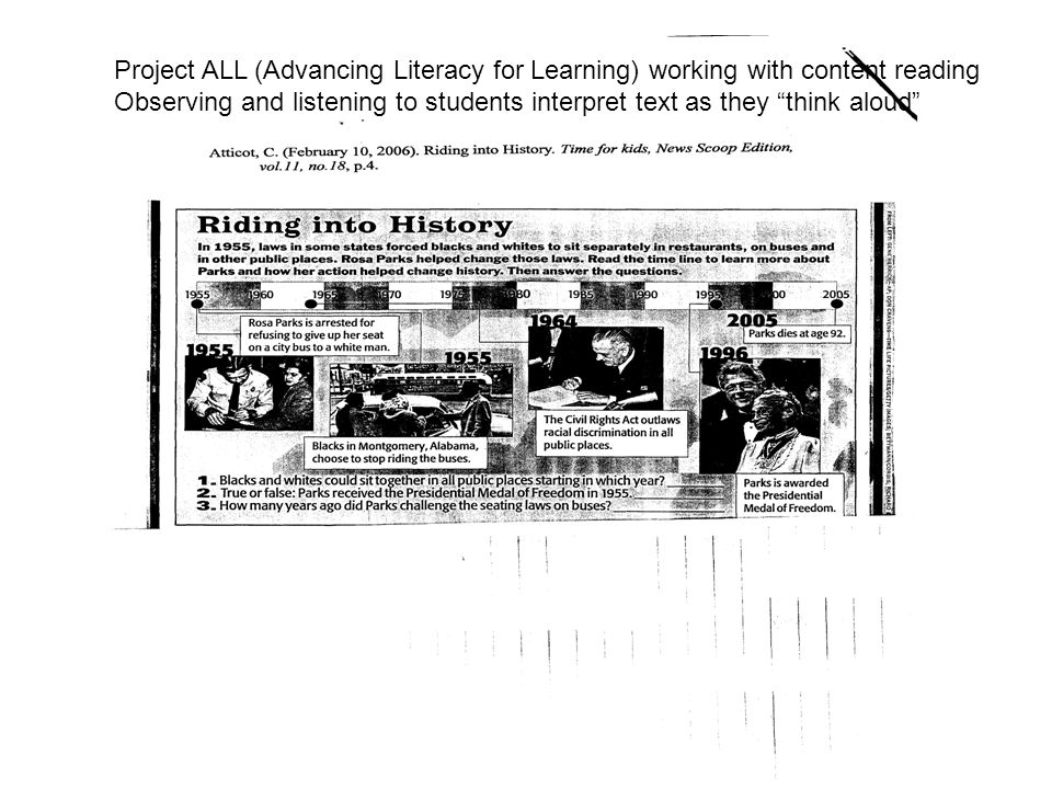 Project ALL (Advancing Literacy for Learning) working with content reading Observing and listening to students interpret text as they think aloud