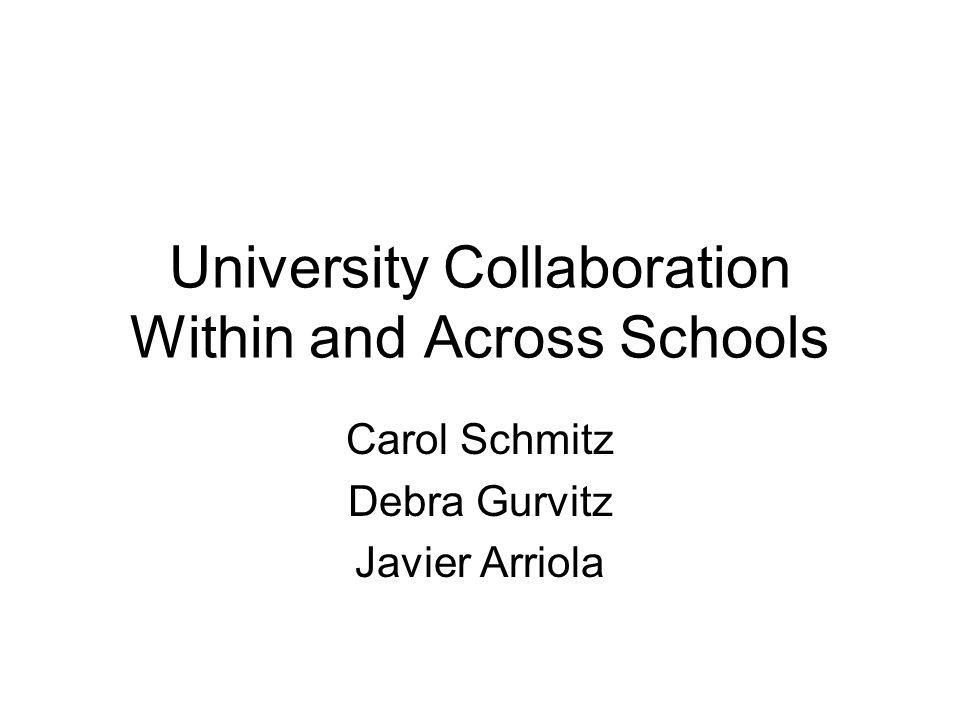 University Collaboration Within and Across Schools Carol Schmitz Debra Gurvitz Javier Arriola