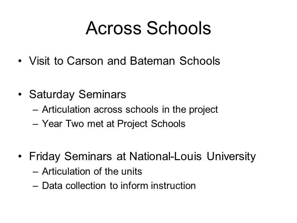Across Schools Visit to Carson and Bateman Schools Saturday Seminars –Articulation across schools in the project –Year Two met at Project Schools Frid