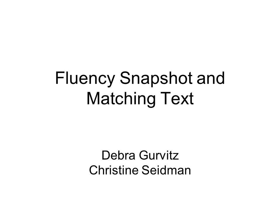 Fluency Snapshot and Matching Text Debra Gurvitz Christine Seidman