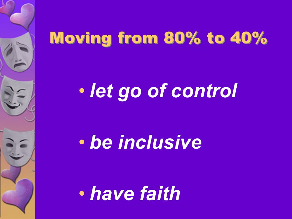 Moving From 20% to 40% coax encourage inspire