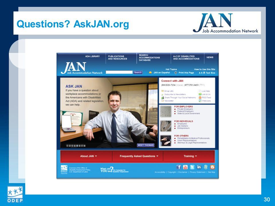 Questions AskJAN.org 30
